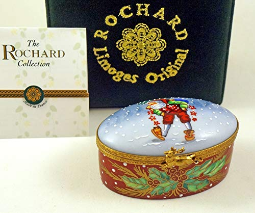 Authentic French Porcelain Hand Painted Rochard Studio Collection Limoges Box Lynn Haney Santa Claus He sees You When You are Sleeping