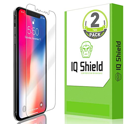 Apple iPhone Xs Screen Protector (2-Pack), IQ Shield LiQuidSkin Full Coverage Screen Protector for Apple iPhone Xs [Max Coverage](5.8) HD Clear Anti-Bubble Film