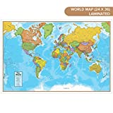 Waypoint Geographic Blue Ocean World Wall Map (24' x 36') - Current UP-to-Date - 1000's of Named Locations & Points of Interest - Rolled & Laminated - Display in Office, Classroom or Home