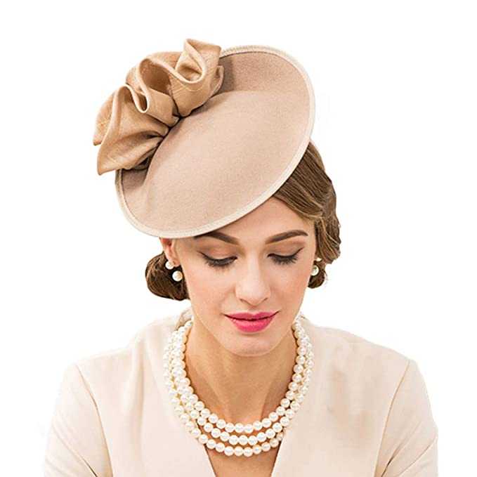 d307a4cb2cfc1 British Hats for Women 100% Wool Pillbox Hat Felt Fedora Vintage Flower  Wedding Fascinator Ladies Derby Church Hat Khaki at Amazon Women s Clothing  store