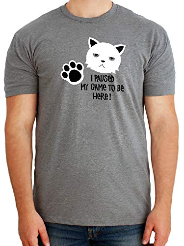Paw Addict - Funny Grumpy Cat Video Game T-Shirts for Gamers - Gaming Pet Tshirt for Teen Boys & Girls - Comfy Cotton Made in USA Cats Tee - Trendy Gift Idea for Young Adults-2X