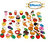 GoaPly Pack of 50 Pencil Erasers Assorted Food Cake Dessert Puzzle Erasers
