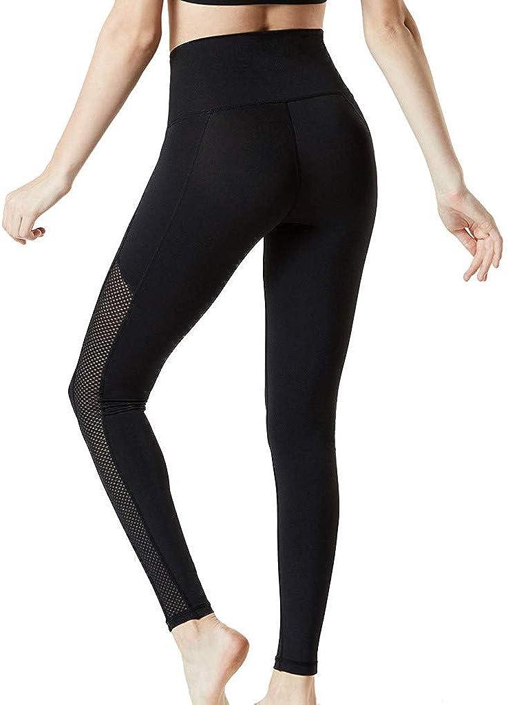 iCJJL Womens High Waist Tummy Control Spliced Mesh Leggings Sleek Workout Fitness Running Yoga Pants Activewear