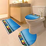 Anhuthree Travel Bath Rug Set Piece Colorful Bathhouses at Muizenberg Cape Town South Africa Standing in a Row Touristic Toilet Carpet Floor mat Multicolor