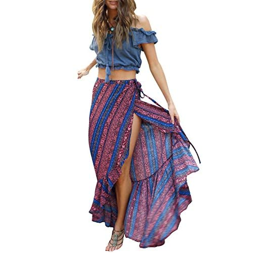 be7e19fdfb free shipping Berrygo Women's Boho High Waist Split Printed Ruffled Mermaid  Loose Wrap Cotton Summer Beach