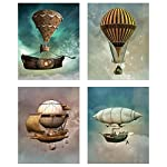 Steampunk Airship Fantasy Prints - Set of 4 (8 inches x 10 inches) Sci-Fi Photos - Stardust Space Wall Decor 6