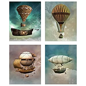 Steampunk Airship Fantasy Prints – Set of 4 (8 inches x 10 inches) Sci-Fi Photos – Stardust Space Wall Decor