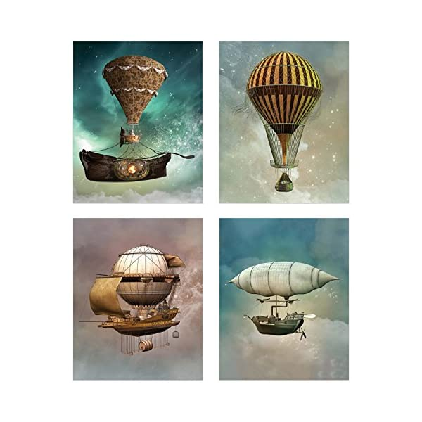 Steampunk Airship Fantasy Prints - Set of 4 (8 inches x 10 inches) Sci-Fi Photos - Stardust Space Wall Decor 3