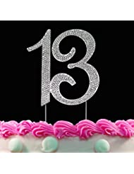 13th Birthday Cake Toppers Crystal Cake Topper 13 Silver Bling Birthday Decorations by Yacanna (Silver 13)