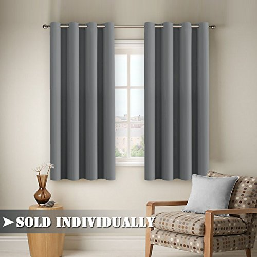 FlamingoP Microfiber Home Thermal Insulated Solid Ring Top Blackout Curtains  / Drapes For Bedroom, One Panel 63 By 52 Inch  Dove Gray
