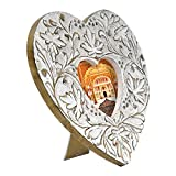 Indian Heritage Wooden Photo Frame Heart Shaped Carved Design with White Distress Finish