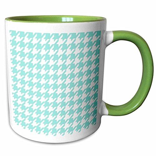 3dRose InspirationzStore Houndstooth patterns - Aqua blue and white houndstooth pattern - pastel turquoise teal shabby chic preppy stylish classy - 15oz Two-Tone Green Mug (mug_113011_12)
