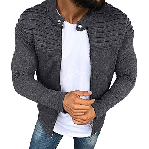 OSTELY Men's Jacket, Solid Color Striped Pleated Panel Outwear Autumn Winter Slim Fit Zipper Long Sleeve Top Coat (Gray,Medium) ()
