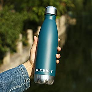 AOMERLY Insulated Water Bottle, Double Wall Vacuum Stainless Steel Water Bottle, S'well Cola Shape, No sweating, BPA Free, Keeps Cold & Hot, Perfect for Camping, Picnics, Gym, 17 oz, Deep Teal