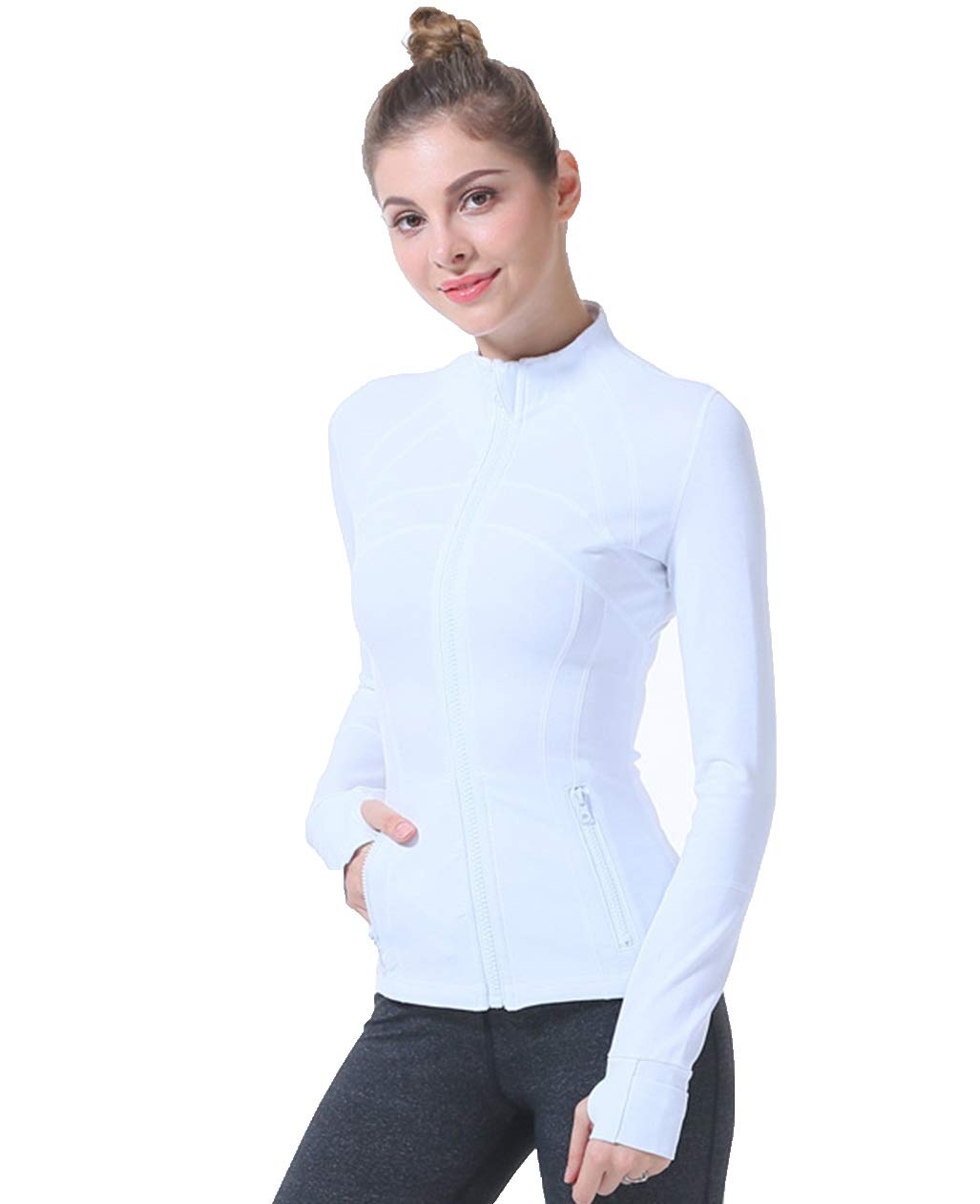 UDIY Women's Sports Jackets Stretchy Workout Yoga Jackets with Thumb Holes White by UDIY