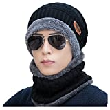 KOODER Winter hats; Knitted Beanie Caps, with scarves included! Extra thick, lamb wool added for extra warmth and comfort (Black)
