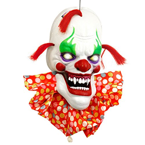 Halloween Haunters Animated Hanging Scary Circus Clown Face with Moving Speaking Mouth Prop Decoration - 3 Spooky Phrases, LED Eyes - Battery Operated