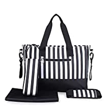 Newtion Fashion Stripe Designer Baby Diaper Nappy Changing Bag Waterproof Large Capacity Shoulder Bags Cross Body(Black)