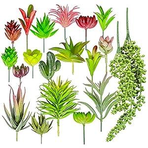 20 PCS Artificial Succulent Plants - Mini Unpotted Fake Succulents with Faux Cactus 37