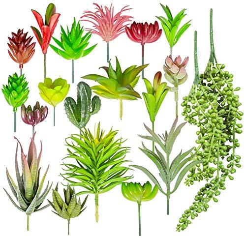 20 PCS Artificial Succulent Plants - Mini Unpotted Fake Succulents with Faux Cactus