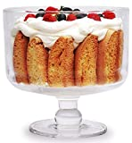 Circleware 160 oz. Odyssey Footed Glass Trifle Cake Fruit Dessert Bowl, 8.75'' x 8.5'', Clear