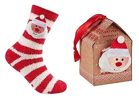 Ladies Gift Boxed Christmas Slipper Socks with Side Plush Head ...