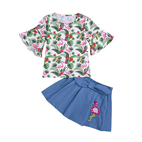 Kids Baby Girls Outfits Floral Ruffle Off Shoulder Crop Tops + Bowknot Denim Shorts Skirt Set Toddler Summer Clothes (Flomingos, 6-7 Years)