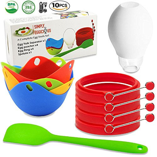 Egg Poacher, Egg Ring, Yolk and White Separator + Spatula - Silicone Poachers Cookware, Non-Stick, BPA Free, Microwave Safe Poaching Cups, Silicone Egg Cooker, Poached Egg Maker, Circle or Round Rings (Poacher Shaped Egg)
