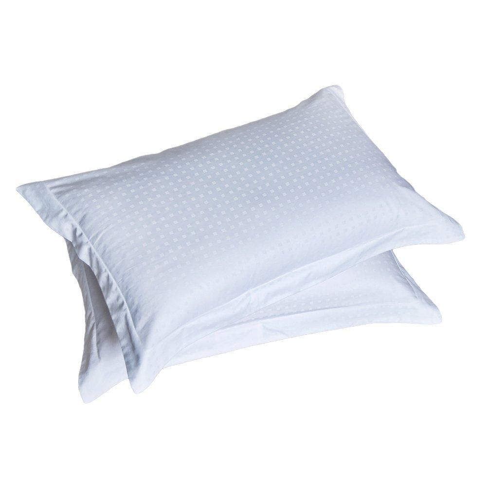 xsjzjfコットン枕カバー2パック低刺激性ホワイト枕プロテクターカバーセットwith Envelope開閉部とドット模様−ソフトとWrinkle Free寝具 – 快適なSleeping クイーン ホワイト B079HS8DVN クイーン クイーン