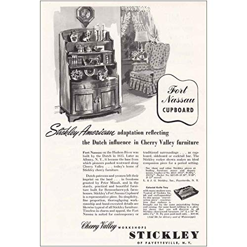 (RelicPaper 1954 Stickely: Cherry Valley Furniture, Fort Nassau Cupboard, Stickley Print Ad)