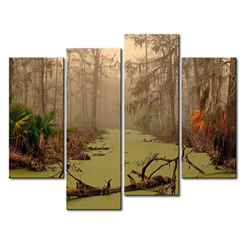 Photo Dead Tree (So Crazy Art 4 Panel Wall Art Painting Louisiana Swamp Dead Tree On Water Autumn Palm Pictures Prints On Canvas Landscape The Picture Decor Oil For Home Modern Decoration Print For Furniture)