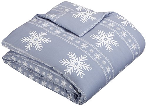 Pinzon Flannel Duvet Cover – Twin, Snowflake Dusty Blue