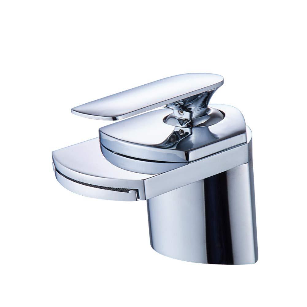 Good quality Waschtischarmatur Wasserhahn, Antikoptik, Kupfer für heiße und kalte Waschtischarmatur, Einlochung, für Badezimmer, Waschbecken, Wasserfall, silberfarben