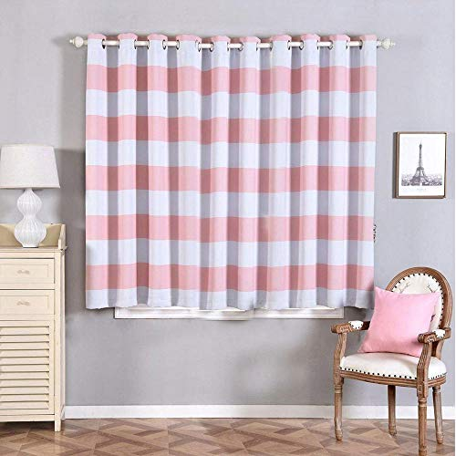 Efavormart 2 Panels White/Blush Cabana Stripe Thermal Insulated Blackout Curtains with Chrome Grommet Window Treatment 52