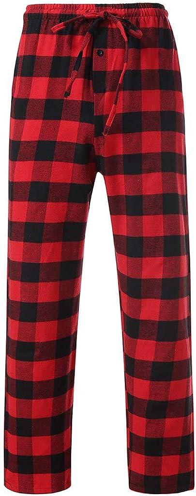 KEERADS Herren Schlafanzughose Lang Kariert Pyjamahose Freizeithose Loungewear Nachtw/äsche Sleep Hose Pants aus 100/% Baumwolle