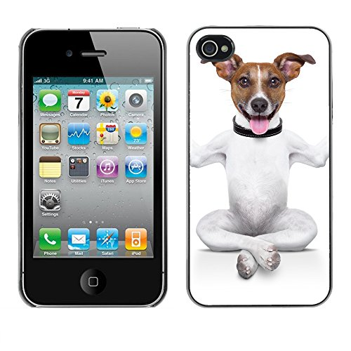 Premio Sottile Slim Cassa Custodia Case Cover Shell // V00001737 chien de yoga // Apple iPhone 4 4S 4G