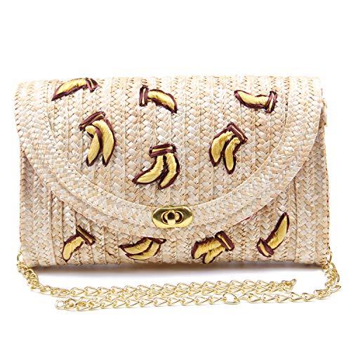 SUKUTU Straw Crossbody Bag, Women Fruit Banana Cherry Crochet Shoulder Bag Fringe Fashion Clutch Purse for Summer Beach