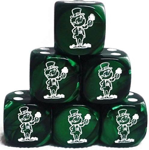 Custom & Unique {Standard Medium 16mm} 6 Ct Pack Set of 6 Sided [D6] Square Cube Shape Playing & Game Dice w/ Rounded Corner Edges w/ Leprechaun on Number One Design [Green, Black & White]
