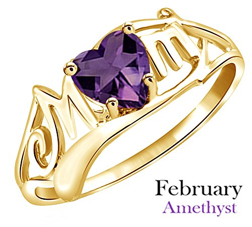 AFFY Simulated Amethyst Mom Heart Ring in 14k Yellow Over Sterling Silver (0.50 Cttw)