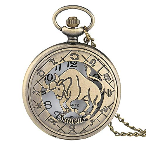 Constellation Ladies Quartz Small Watch - Pocket Watch | 12 Constellation Astrology Zodiac Pocket Bronze Necklace Pendant | Mens Women Hollow Flip Quartz Cover