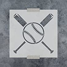 Baseball and Bats Stencil Template - Reusable Stencil with Multiple Sizes Available