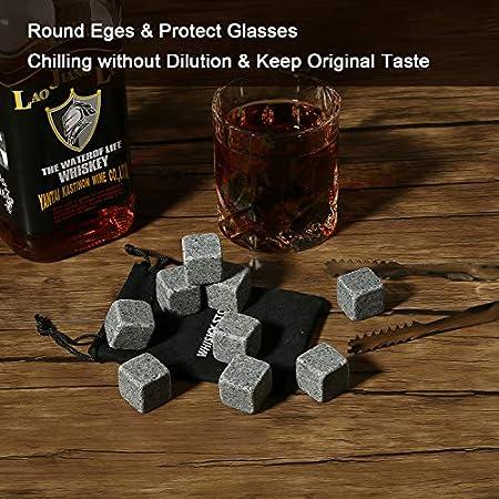 Regalo de Whisky Stones   Juego de 9 rocas de whisky refrigerantes reutilizables con clip para hielo, vertedor de botellas de vino y bolsa de almacenamiento, regalo para hombre, mujer, papá, mejor