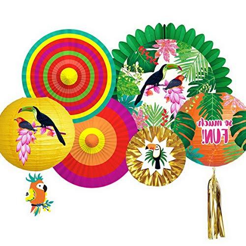 Werrox Parrot Tropical Decorations, Summer Aloha Theme Decor Fia Style Parakeet Paper Lantern Fan Decoration for Luau Hawaiian Beach Seaside Tiki Decor | Model WDDNG -4112