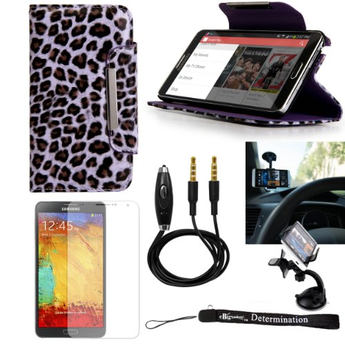 Travel Executive Leather Stand Wallet Case (Purple Leopard) for Samsung Galaxy Note 3 III Smartphone + Windshield Mount + AUX Cable + Screen Protector