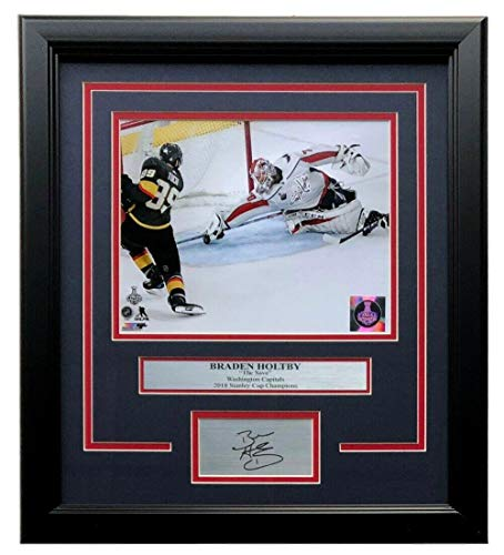 Braden Holtby Signed Photograph - Framed 8x10 The Save w Laser Engraved - Autographed NHL Photos