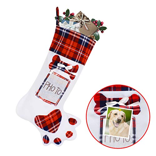 "Christmas Stocking,Dog Claw Plaid Stocking for Candy Gift Christmas Decoration Fireplace Tree Hanging,19"",Red"