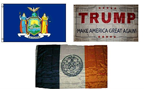 ALBATROS 3 ft x 5 ft Trump White with State New York with City New York Set Flag for Home and Parades, Official Party, All Weather Indoors Outdoors ()