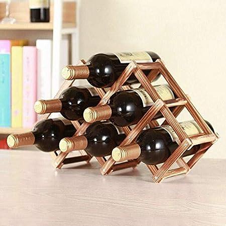 HJXSXHZ366 Estantería de Vino Botellero botellero instalación visualización de la Barra 3/6/10 Cocina de Madera roja reposar 5 Botellas Estante de Vino pequeño (Size : 6bottles)