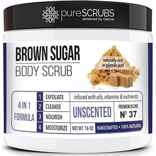 pureSCRUBS Premium Organic Brown Sugar UNSCENTED FACE & BODY SCRUB Set - Large 16oz