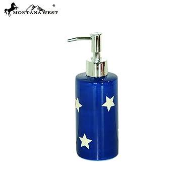 rsm-2009 Montana West patriótica estrellas cerámica jabón/dispensador de loción